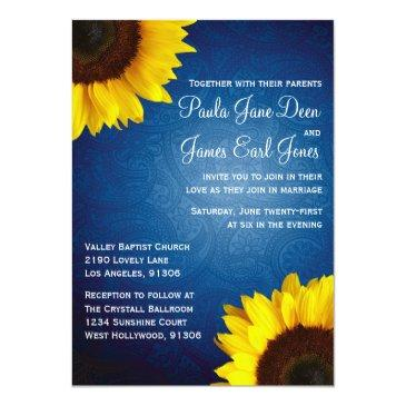 Small Royal Blue & Sunflower Wedding Invitation Front View