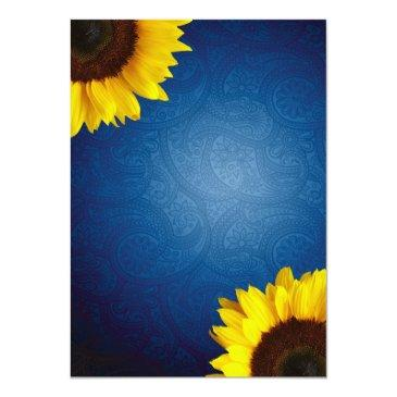 Small Royal Blue & Sunflower Wedding Invitation Back View