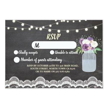 rsvp chalk lace wedding rustic lights floral jar invitation