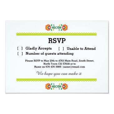 rsvp fiesta mexican print  lime wedding party