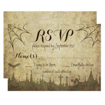 rsvp for a halloween wedding with web and cemetery