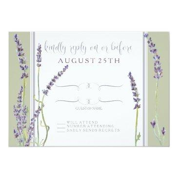 Small Rsvp French Lavender Flowers Modern Typography Invitation Front View