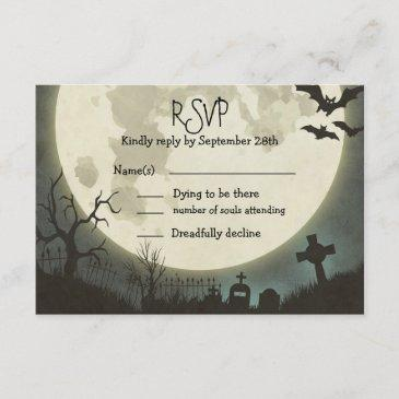 rsvp halloween wedding with full moon and cemetery