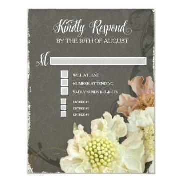 rsvp response  pretty modern flower flourish