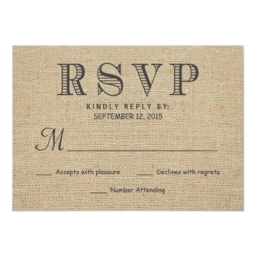 Small Rsvp Rustic Country Burlap Wedding Reply Front View