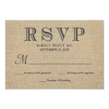 rsvp rustic country burlap wedding reply