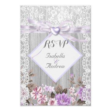 rsvp rustic wood floral wedding lavender lace invitation