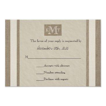 rsvp wedding  -- burlap parchment look