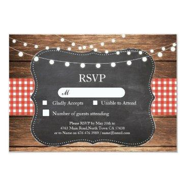 rsvp wedding red check wood light  invites