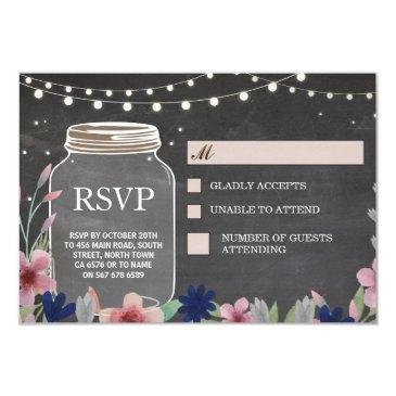 rsvp wedding rustic chalk floral respond invitationss