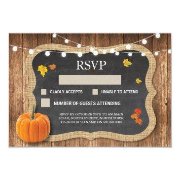 rsvp wedding rustic chalk pumpkin respond