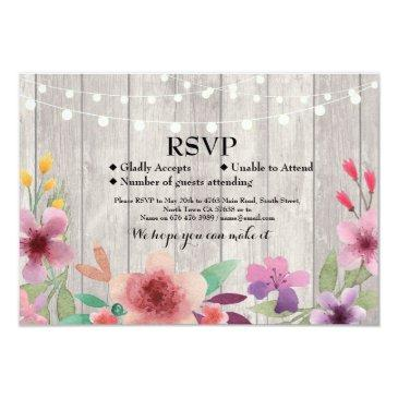 rsvp wedding rustic wood floral  invites