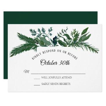 rsvp wedding winter forest foliage leaf leaves