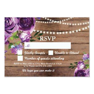 rsvp wedding wood  purple flowers invites
