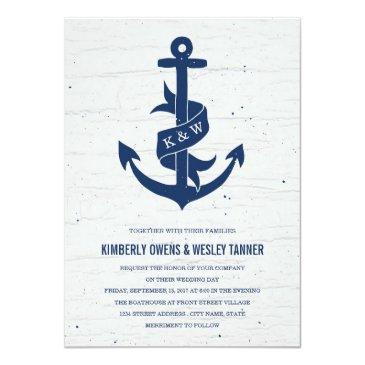 Small Rustic Anchor Wedding Invitations / Navy Front View
