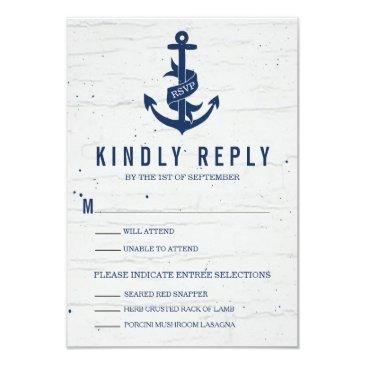 rustic anchor wedding rsvp  / navy