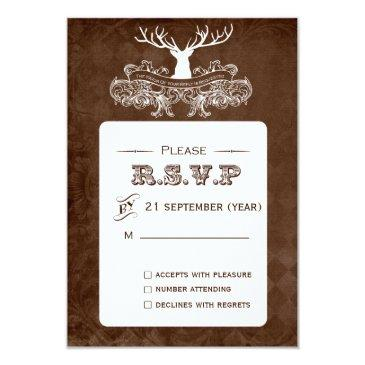 rustic antler, deer winter woodland rsvp 3.5 x 5