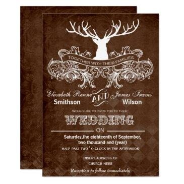 rustic antler deer winter woodland wedding invitations