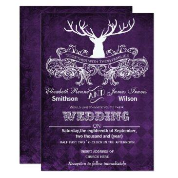 rustic antler, deer winter woodland wedding invite