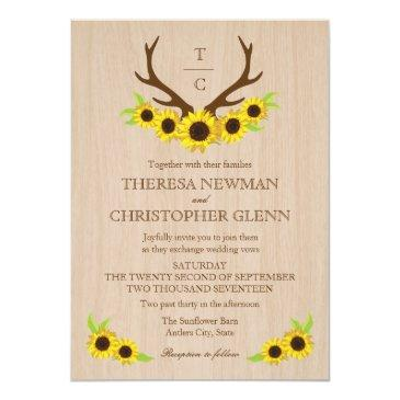 Small Rustic Antlers And Sunflowers Wedding Invitations Front View