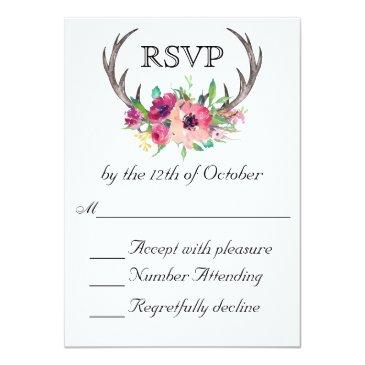 Small Rustic Antlers Boho Floral Allure Wedding Invitationss Front View