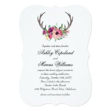 rustic antlers boho floral allure wedding invitations