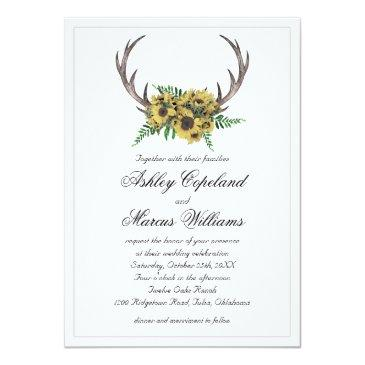 Small Rustic Antlers Boho Sunflowers Floral Wedding Invitation Front View