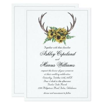 rustic antlers boho sunflowers floral wedding invitations