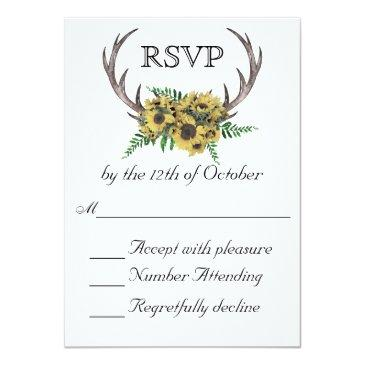 Small Rustic Antlers Boho Sunflowers Wedding Rsvp Front View