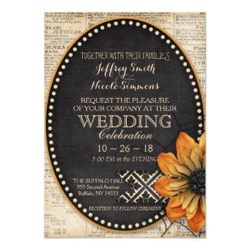 rustic autumn fall halloween barn wedding invitation