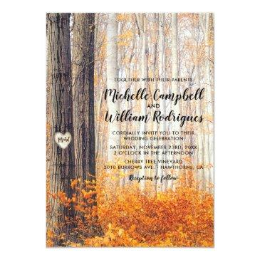 Small Rustic Autumn Fall Leaves Wedding Invitationss Front View