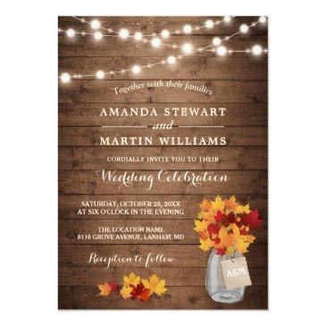 Small Rustic Autumn Maple Leaves String Lights Wedding Invitation Front View