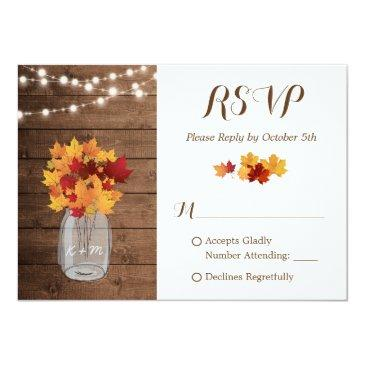 Small Rustic Autumn String Lights Mason Jar Wedding Rsvp Front View