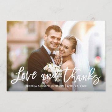 rustic baby's breath love and thanks wedding photo thank you