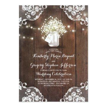 Small Rustic Baby's Breath Mason Jar Lights Lace Wedding Invitationss Front View