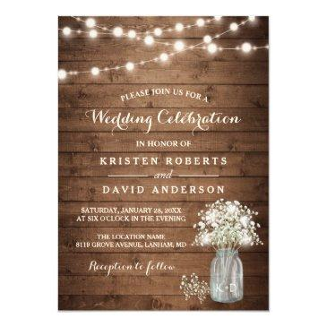 Small Rustic Baby's Breath Mason Jar Lights Wedding Invitations Front View