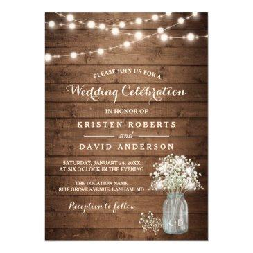 rustic baby's breath mason jar lights wedding invitation