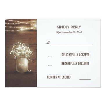 Small Rustic Baby's Breath Mason Jar Wedding Rsvp Front View
