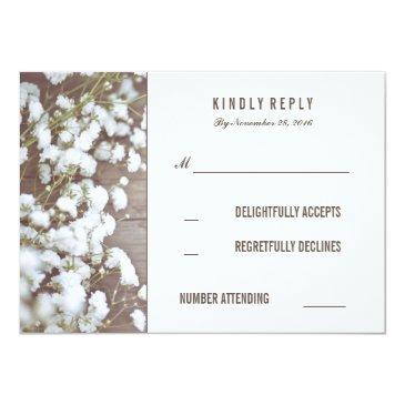 Small Rustic Baby's Breath Wedding Rsvp Front View