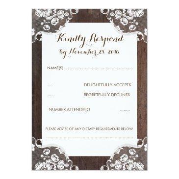 Small Rustic Baby's Breath Wood And Lace Wedding Rsvp Front View
