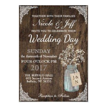 rustic barn wedding wood mason jar babys breath