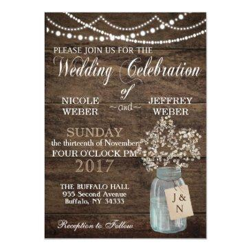 rustic barn wedding wood mason jar babys breath invitations