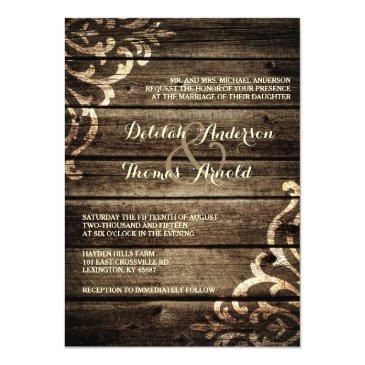 Small Rustic Barn Wood Damask Vintage Wedding Front View