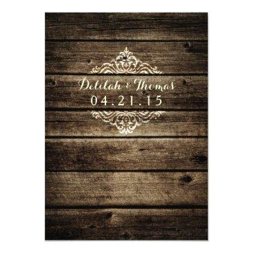 Small Rustic Barn Wood Damask Vintage Wedding Back View