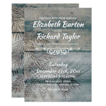 rustic barn wood pine tree winter wedding invitation
