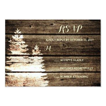 rustic barn wood pine trees winter wedding rsvp