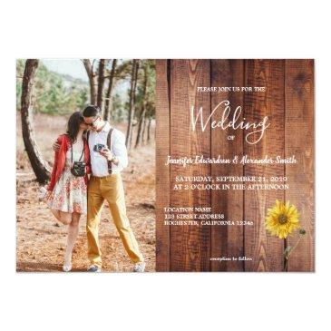 Small Rustic Barn Wood Sunflower Photo Country Wedding Invitation Front View
