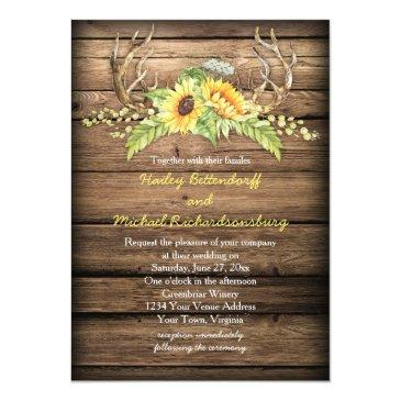 Small Rustic Barn Wood Sunflowers Antlers Wedding Front View