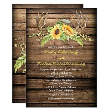 rustic barn wood sunflowers antlers wedding invitations