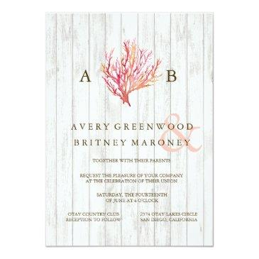 Small Rustic Beach Coral Wood Wedding Invitation Front View